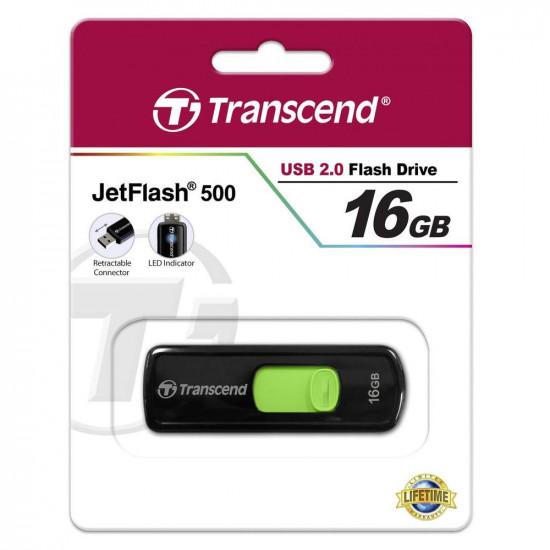 Pen Drive Transcend 16GB Jet Flash 500 Usb Flash Black/Green