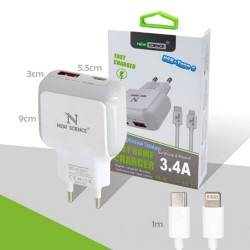 Fast Charger New Science Apple Iphone 7/8 / X / Xs 3.4a Compatible