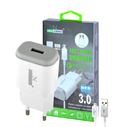 New Science Micro USB Charger 8600 V8 3.0A REF: 9949 White