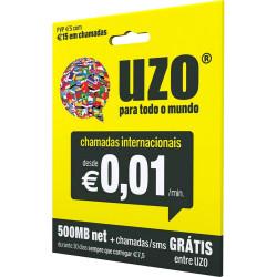 Cartão Sim Uzo 5 Euro + 500mb Net