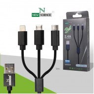 Usb Micro Usb Cable Charge 3 In 1 Apple Iphone 5 Samsung Type C Black