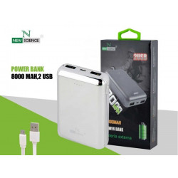 Power Bank New Science Ref 8423 8000Mah Silver