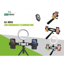 Ring Light New Science L12 Black With Tripod Stand E Duplo Mobile Suporte