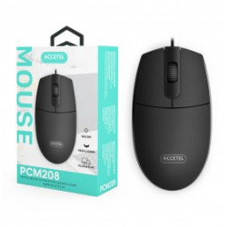 MOUSE WITH CABLE USB ACCETEL PCM208 BLACK 1200 DPI, COMFORTABLE E LIGHT WEIGHT