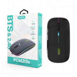 MOUSE WITH CABLE USB ACCETEL PCM213B BLACK LUMIOSA, CLIC SILENCIOSO, RECARGABLE E 1600 DPI