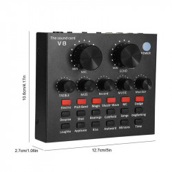 Microfone E Placa De Som Oem V+8 Black Com Multiple Sound Effects E Singing, Live, Shounting, Chat, Recording, Voice, Music
