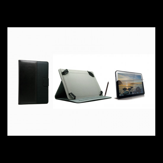 Capa Tablet Flip Cover New Mobile + Screen Protector Preto Com Ergonomical Stylus Pen