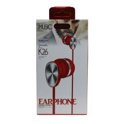 Headset K26 Extra Bass Red