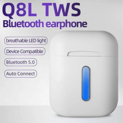 Headphones Q8L Tws True Wireless With led For Smartphone White