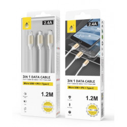 Usb Micro Usb Cable ONE PLUS B5099 BRANCO 2.4A 1.2M 3 IN 1 MICRIO USB, IPX, TYPE C