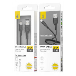 Data Cable Apple One Plus Nb1255 Lightning Cable 2.4a, 1m Black for Ip5/6/7/8/x