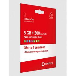 Cartão Sim Vodafone 5gb+500min/Sms Oferta 4 Semanas