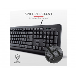 Keyboard Mouse Trust Tkm-250 1.8m Cable Spill Resistant Black