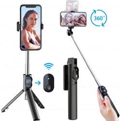 Selfie Stick Oem P20 Mini Wireless Remote Com Tripod Stand Preto