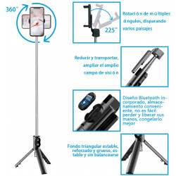 Selfie Stick Oem P20 Mini Wireless Remote Com Tripod Stand Black