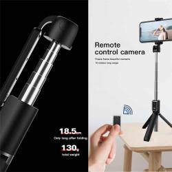 Selfie Stick Oem P50 Preto Wireless, 180 Degree Rotateable, Tripod Stand