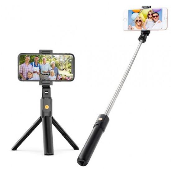 Selfie Stick Oem K10 Wireless Remote 3 In 1 With Tripod Stand Preto
