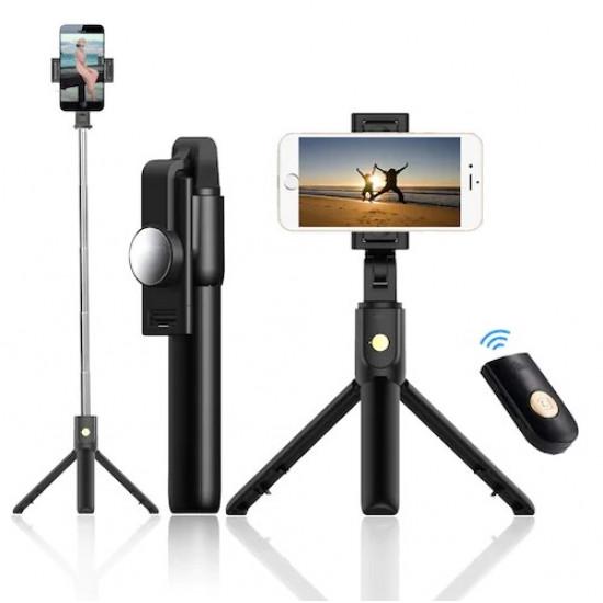 Selfie Stick Oem K10 Preto Wireless Remote 3 In 1 With Tripod Stand