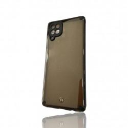 Capa Silicone Dura Com Desenho Brilhante Samsung Galaxy A12 / A125 Preto Protetor De Camera